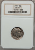 Buffalo Nickels: , 1924 5C MS64 NGC. NGC Census: (247/141). PCGS Population (398/285).Mintage: 21,620,000. Numismedia Wsl. Price for problem ...