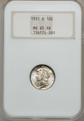 Mercury Dimes: , 1931-D 10C MS65 Full Bands NGC. NGC Census: (135/62). PCGSPopulation (330/203). Mintage: 1,260,000. Numismedia Wsl. Price ...