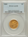 Three Dollar Gold Pieces: , 1868 $3 AU55 PCGS. PCGS Population (59/136). NGC Census: (66/201).Mintage: 4,850. Numismedia Wsl. Price for problem free N...