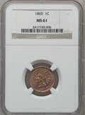 Indian Cents: , 1860 1C MS61 NGC. NGC Census: (37/880). PCGS Population (5/1020). Mintage: 20,566,000. Numismedia Wsl. Price for problem fr...