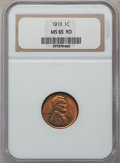 Lincoln Cents: , 1913 1C MS65 Red NGC. NGC Census: (142/36). PCGS Population(149/68). Mintage: 76,532,352. Numismedia Wsl. Price for proble...