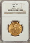 Liberty Eagles: , 1904 $10 MS64 NGC. NGC Census: (37/7). PCGS Population (38/3).Mintage: 161,900. Numismedia Wsl. Price for problem free NGC...