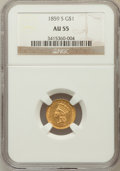 Gold Dollars: , 1859-S G$1 AU55 NGC. NGC Census: (24/54). PCGS Population (13/16).Mintage: 15,000. Numismedia Wsl. Price for problem free ...