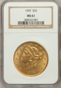 Liberty Double Eagles: , 1905 $20 MS61 NGC. NGC Census: (223/161). PCGS Population(130/271). Mintage: 58,900. Numismedia Wsl. Price for problemfre...