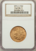 Indian Eagles: , 1916-S $10 AU58 NGC. NGC Census: (257/413). PCGS Population(222/473). Mintage: 138,500. Numismedia Wsl. Price for problem ...