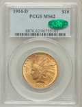 Indian Eagles: , 1914-D $10 MS62 PCGS. CAC. PCGS Population (696/582). NGC Census:(674/420). Mintage: 343,500. Numismedia Wsl. Price for pr...