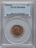 Lincoln Cents: , 1915-D 1C MS64 Red and Brown PCGS. PCGS Population (255/38). NGCCensus: (246/130). Mintage: 22,050,000. Numismedia Wsl. Pr...