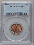 Lincoln Cents: , 1922-D 1C MS64 Red PCGS. PCGS Population (250/93). NGC Census:(200/48). Mintage: 15,274,000. Numismedia Wsl. Price for pro...