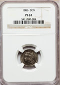 Proof Three Cent Nickels: , 1886 3CN PR67 NGC. NGC Census: (35/0). PCGS Population (45/3).Mintage: 4,290. Numismedia Wsl. Price for problem free NGC/P...