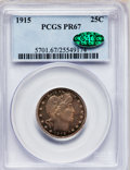 Proof Barber Quarters: , 1915 25C PR67 PCGS. CAC. PCGS Population (10/2). NGC Census:(13/3). Mintage: 450. Numismedia Wsl. Price for problem free N...