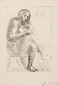 PABLO PICASSO (Spanish, 1881-1973) Au bain (from Vollard Suite), 1930 Etching 12-1/4 x 8-3/4 inch