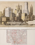 Prints:Contemporary, CHRISTO AND JEANNE-CLAUDE (American, b. 1935). Two lowerManhattan wrapped buildings (Project for 20 Exchange Place),19...