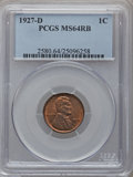 Lincoln Cents: , 1927-D 1C MS64 Red and Brown PCGS. PCGS Population (234/55). NGCCensus: (121/52). Mintage: 27,170,000. Numismedia Wsl. Pri...