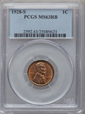 Lincoln Cents: , 1928-S 1C MS63 Red and Brown PCGS. PCGS Population (104/128). NGCCensus: (78/190). Mintage: 17,266,000. Numismedia Wsl. Pr...