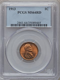 Lincoln Cents: , 1913 1C MS64 Red PCGS. PCGS Population (210/217). NGC Census:(200/178). Mintage: 76,532,352. Numismedia Wsl. Price for pro...