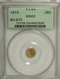 California Fractional Gold: , 1874 25C Indian Round 25 Cents, BG-875, High R.4, MS63 PCGS. PCGSPopulation (16/38). NGC Census: (1/1). (#10736)...