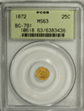 California Fractional Gold: , 1872 25C Indian Octagonal 25 Cents, BG-791, R.3, MS63 PCGS. PCGSPopulation (71/110). NGC Census: (9/21). (#10618)...