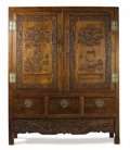 Furniture, A Chinese Fruitwood Cabinet. Unknown maker, Chinese. 20th century. Fruitwood, brass. Unmarked . 74 inches high x 60 inches...