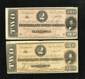 Confederate Notes:1864 Issues, T70 $2 1864 Two Examples.. . ... (Total: 2 notes)