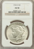 Peace Dollars: , 1934-D $1 AU58 NGC. NGC Census: (461/3314). PCGS Population(546/4331). Mintage: 1,569,500. Numismedia Wsl. Price for probl...
