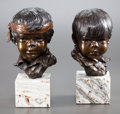 Sculpture, GLENNA GOODACRE (American, b. 1939). Brother and Sister (pair). Bronze with patina. 8 inches (20.3 cm). Ed. 14/20. Both ...