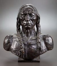 After CHARLES SCHREYVOGEL (American, 1861-1912) White Eagle Bronze 20 inches (50.8 cm) Inscrib