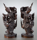 Asian:Other, SOUTHEAST ASIAN SCHOOL (20th Century). Asian Dancers (pair).Wood carvings. Each: 15 inches (38.1 cm). THE HOGAN FAMIL...