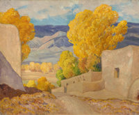 ORIN SHELDON PARSONS (American, 1866-1943) October, Alcalde, New Mexico Oil on canvas 25 x 30 inc
