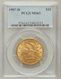 Liberty Eagles: , 1907-D $10 MS62 PCGS. PCGS Population (189/168). NGC Census:(55/19). Mintage: 1,030,000. Numismedia Wsl. Price for problem...