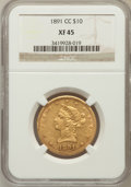 Liberty Eagles: , 1891-CC $10 XF45 NGC. NGC Census: (78/2189). PCGS Population(95/1827). Mintage: 103,732. Numismedia Wsl. Price for problem...