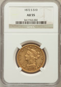 Liberty Eagles: , 1872-S $10 AU55 NGC. NGC Census: (27/15). PCGS Population (5/3).Mintage: 17,300. Numismedia Wsl. Price for problem free NG...