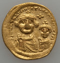 Ancients:Byzantine, Ancients: Heraclius, with Heraclius Constantine (AD 610-641). AVsolidus (4.23 gm)....