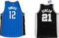 Basketball Collectibles:Uniforms, Tim Duncan and Dwight Howard Signed Jerseys Lot of 2....