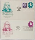 Books:Americana & American History, [First Day Covers]. Group of Two Related To Benjamin Franklin.1958-1960. Fine. A first day cover is a stamped envelope or c...