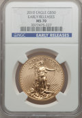 Modern Bullion Coins, 2010 $50 One-Ounce Gold Eagle, Early Releases MS70 NGC. NGC Census:(0). PCGS Population (742). (#415543)...