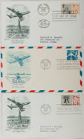 Books:Americana & American History, [First Day Covers]. Group of Three Related To Airmail. 1958-1961.Fine. A first day cover is a stamped envelope or card whic...