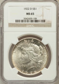 Peace Dollars: , 1922-D $1 MS65 NGC. NGC Census: (909/239). PCGS Population(1080/148). Mintage: 15,063,000. Numismedia Wsl. Price for probl...