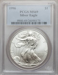 Modern Bullion Coins: , 1996 $1 Silver Eagle MS69 PCGS. PCGS Population (4865/0). NGCCensus: (81542/128). Mintage: 3,603,386. Numismedia Wsl. Pric...