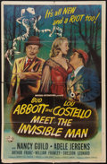 """Movie Posters:Comedy, Abbott and Costello Meet the Invisible Man (UniversalInternational, 1951). One Sheet (26.5"""" X 40""""). Comedy.. ..."""