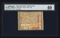 Colonial Notes:Massachusetts, Massachusetts May 5, 1780 $20 PMG Extremely Fine 40.. ...