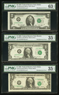 Error Notes:Error Group Lots, Fr. 1913-K $1 1985 Federal Reserve Note. PMG Choice Very Fine 35EPQ; . Fr. 1928-A $1 2003 Federal Reserve Note. PMG Choic...(Total: 3 notes)