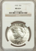 Peace Dollars, 1923 $1 MS65+ NGC. NGC Census: (33900/2947). PCGS Population(14972/1656). Mintage: 30,800,000. Numismedia Wsl. Price for p...