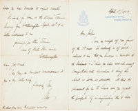[Titanic]. Isidor Straus Autograph Letter Signed