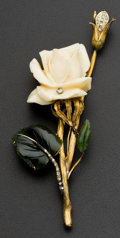 Estate Jewelry:Brooches - Pins, Large Antique Gold, Diamond, Coral & Jade Brooch. ...