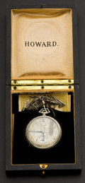 Timepieces:Pocket (post 1900), Howard 14k Gold Watch & Chain, Original Box. ...