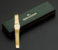 Timepieces:Wristwatch, Jaeger LeCoultre Gent's Gold Bracelet Watch, Original Box. ...
