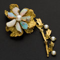 Estate Jewelry:Brooches - Pins, Outstanding Opal & Pearl Gold Brooch. ...