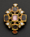 Estate Jewelry:Brooches - Pins, Early Exquisite 18k Gold Diamond & Enamel Brooch . ...