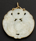 Estate Jewelry:Pendants and Lockets, Old Muton Jade 14k Gold Pendant. ...