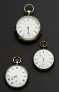 Timepieces:Pocket (pre 1900) , Two Swiss & One Elgin Key Wind Pocket Watches Runners. ...(Total: 3 Items)